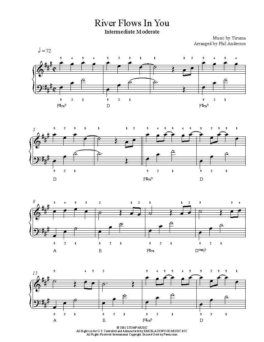 Sheet nhạc River Flows In You by Yiruma