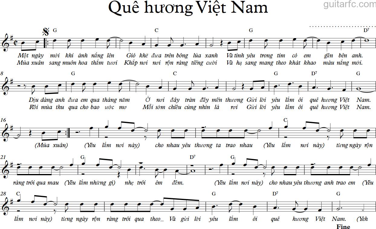 Sheet nhạc bài hát quê hướng Việt Nam 1