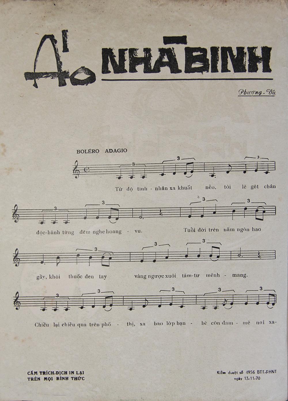Sheet nhạc bài hát áo nhà binh 2