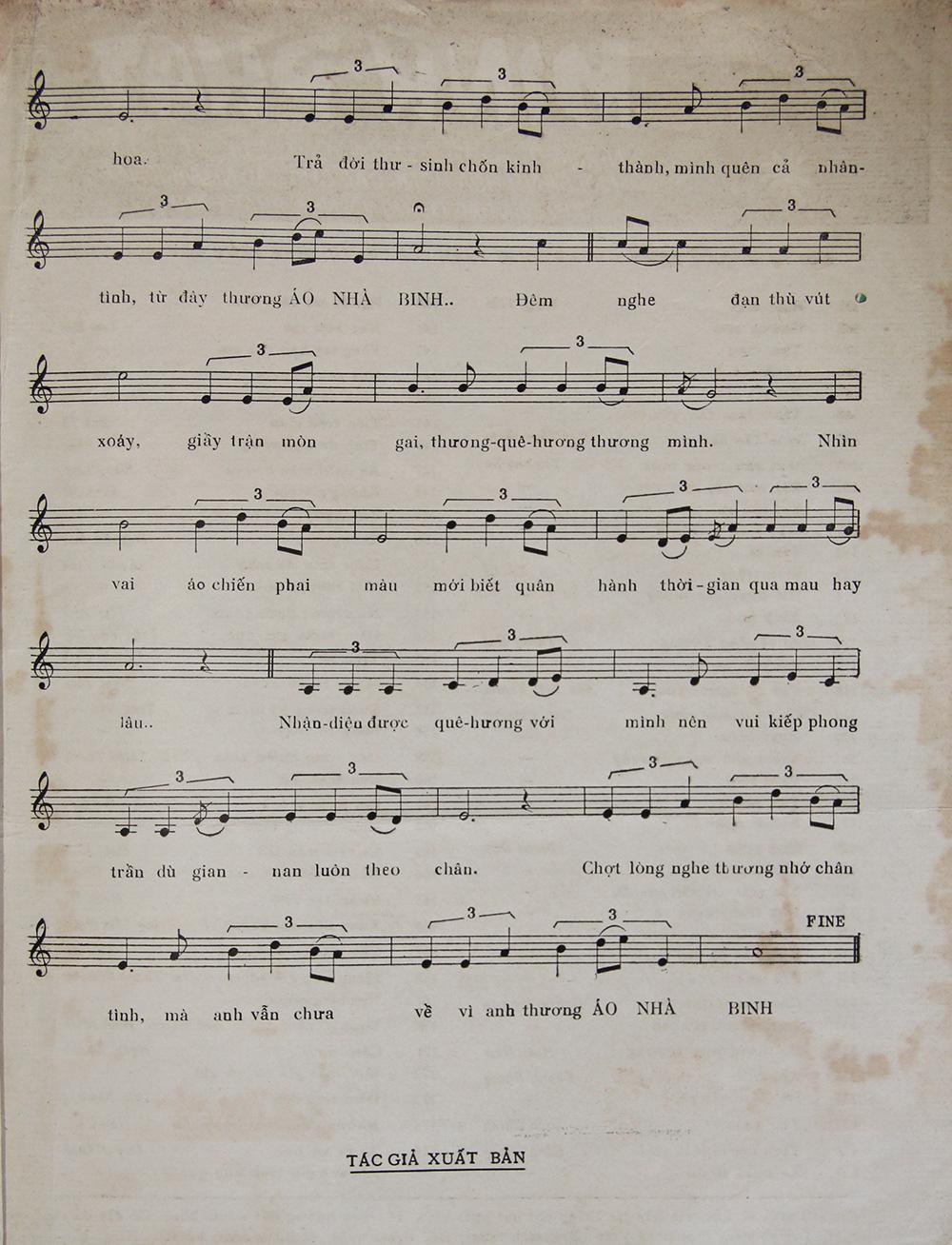 Sheet nhạc bài hát áo nhà binh 3