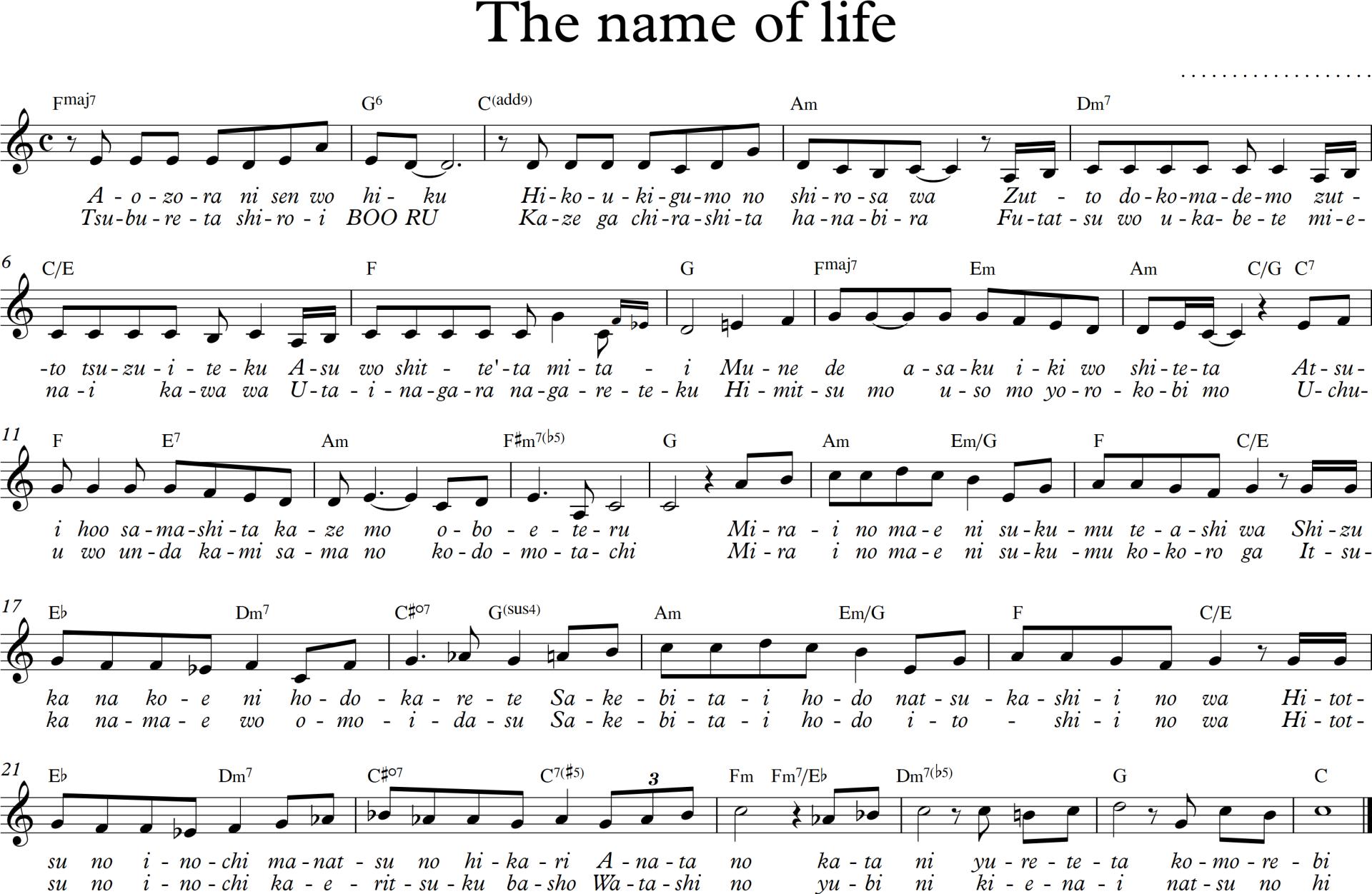 Sheet nhạc bài hát the name of life