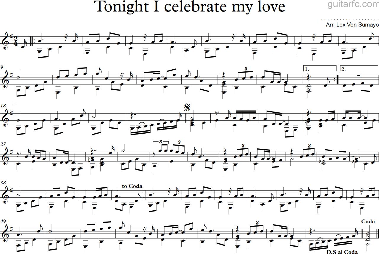 Sheet nhạc bài hát tonight i celebrate my love