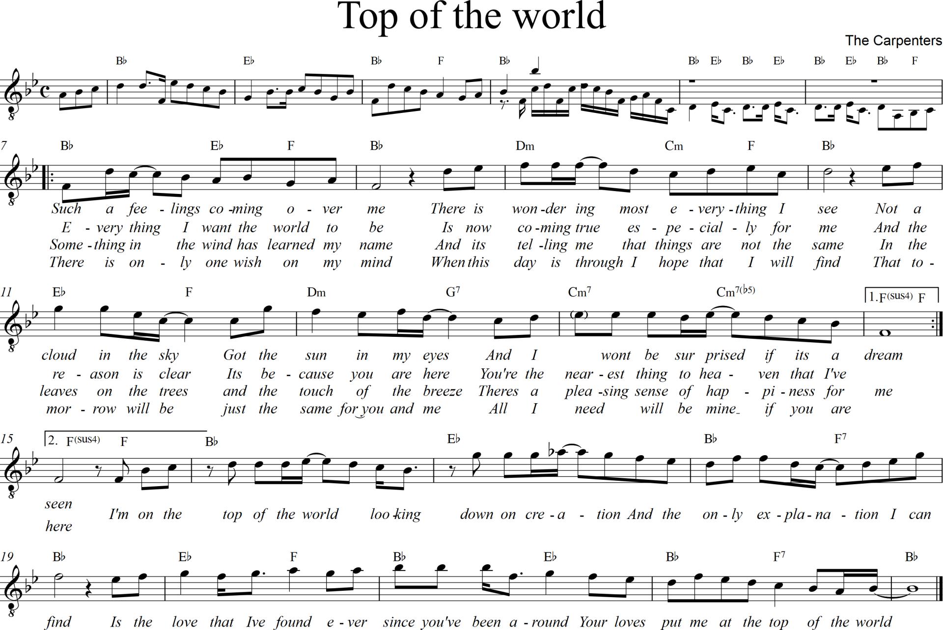 Sheet nhạc bài hát top of the world