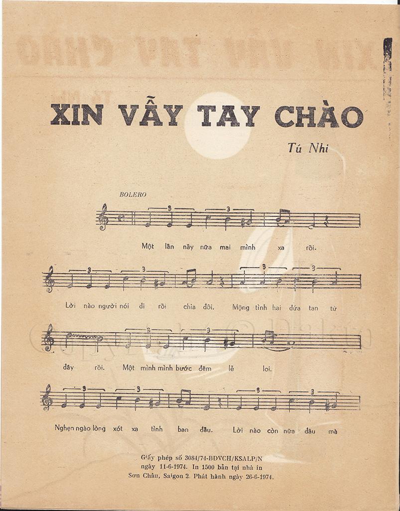 Sheet nhạc bài hát xin vẫy tay chào 1