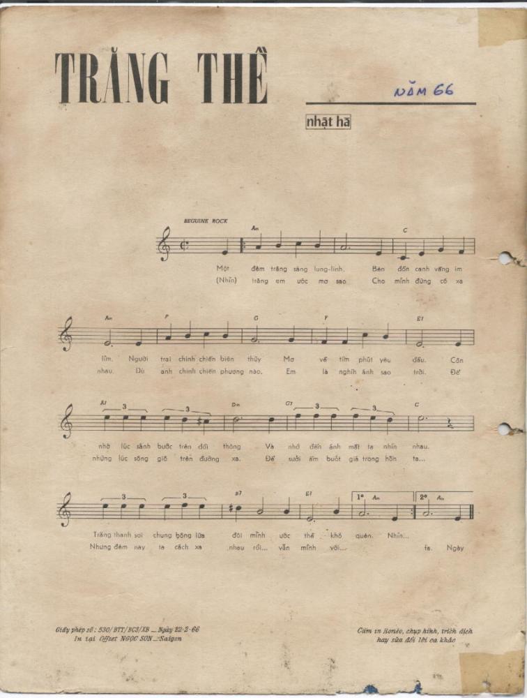 Sheet nhạc bài hát trăng thề 1