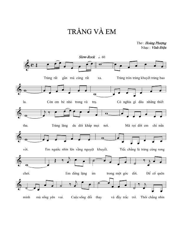 Sheet nhạc bài hát trăng và em 1