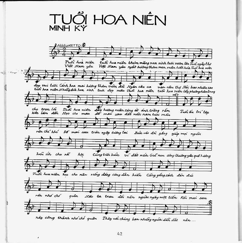 Sheet nhạc bài hát tuổi hoa niên