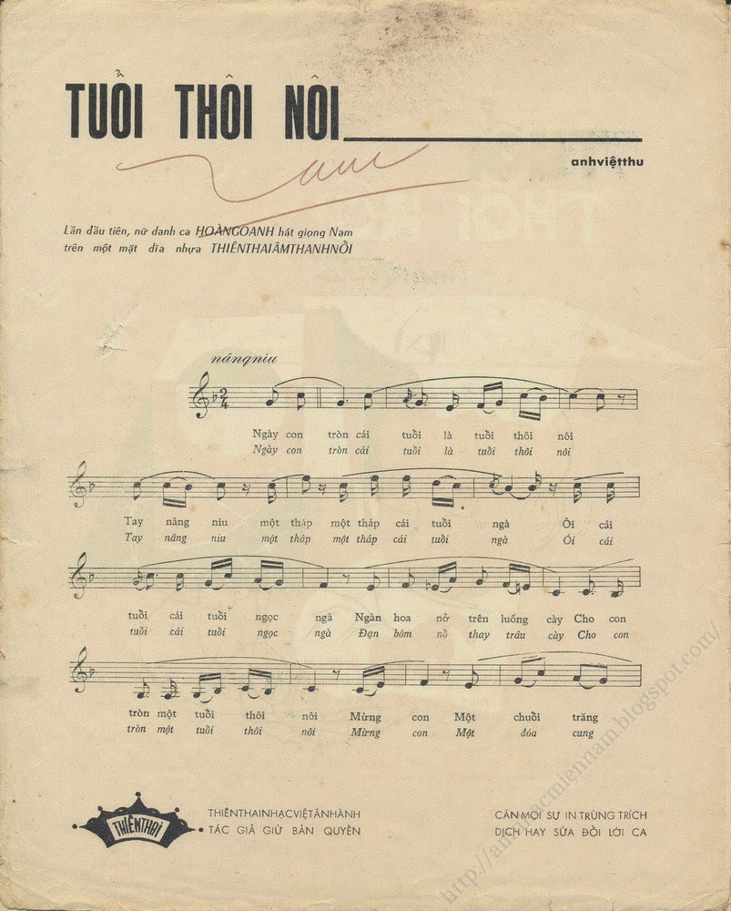 Sheet nhạc bài hát tuổi thôi nôi 1
