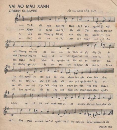 Sheet nhạc bài hát vai áo màu xanh