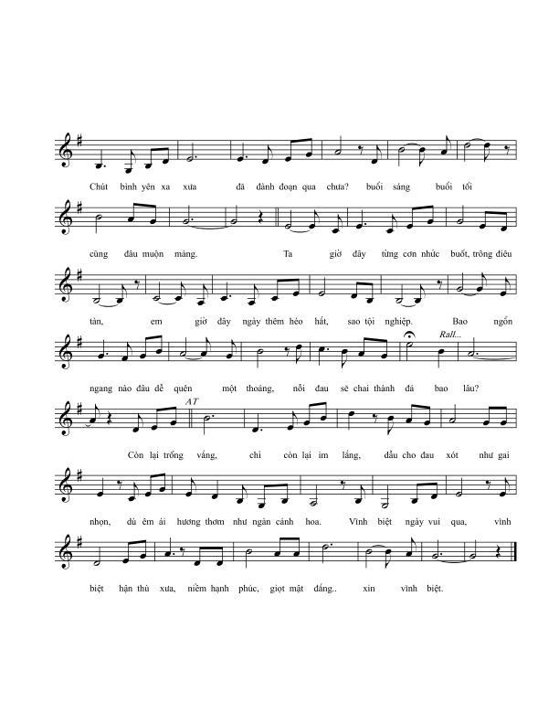 Sheet nhạc bài hát bên bờ quên lãng 2