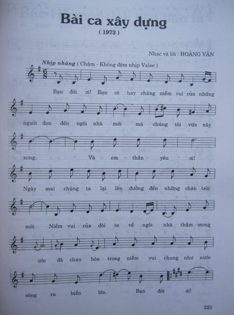 Sheet nhạc bài hát bài ca xây dựng 1